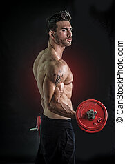 Muscular sexy man exercising biceps with dumbbells