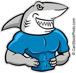 Muscular Shark - a vector illustration of muscular shark