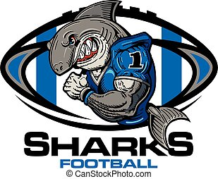muscular sharks football player team design for school, college or league