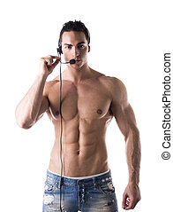 Muscular shirtless helpdesk operator with headset - Muscular...