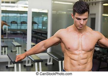 muscular, shirtless, hombre, g, serio