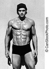 muscular, shirtless, homem