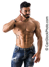 Muscular shirtless male model doing call me gesture