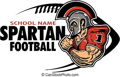 muscular spartan football player team design for school, college or league