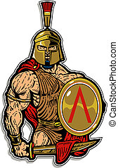 muscular spartan with shield