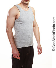 Muscular sporty fit man isolated.
