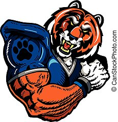 muscular tiger football player mascot for school, college or league