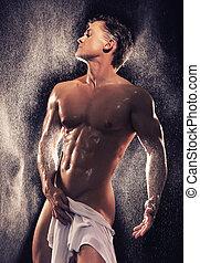 muscular, tipo, teniendo, baño