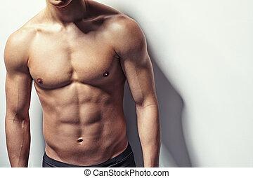 muscular, torso, de, joven
