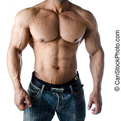 Muscular torso, pecs, abs and arms of male bodybuilder in...