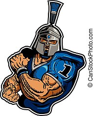 muscular trojan football player mascot for school, college or league