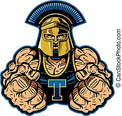 muscular trojan mascot with fists up for school, college or league