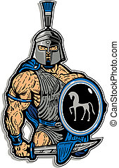 muscular trojan with shield