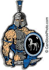 muscular trojan with shield