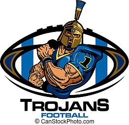 muscular trojans football player team design for school, college or league