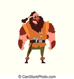 Muscular viking warrior character vector Illustration on a white background