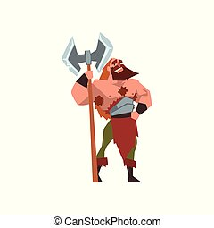 Muscular viking warrior character with huge double edged axe vector Illustration on a white background