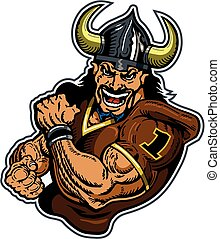 muscular vikings football player mascot for school, college or league