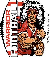 warrior football - muscular warrior football player team...