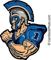muscular warrior football player with helmet