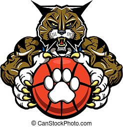 wildcat basketball - muscular wildcat basketball mascot ...