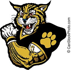 muscular wildcat football player team design for school, college or league