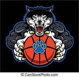 wolves basketball - muscular wolves basketball team mascot ...