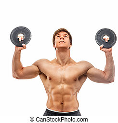 Muscular young guy with weights