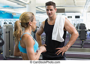 musculation, conversation, femme homme, ensemble