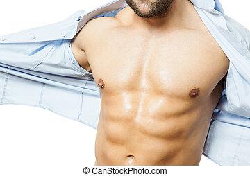 musculation, fermé, chemise, homme