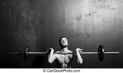 musculation, homme, levage, barre disques