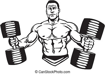 musculation, powerlifting, -, vector.