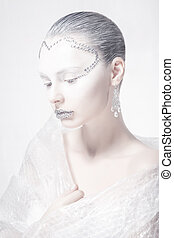 Muse. Theatrical Style. Profile of Woman Face - Creative Carnival Makeup