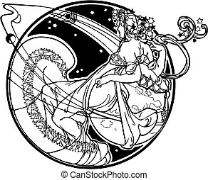 Vector image of a muse in black and white to color or use special as it is. Score at the Art Nouveau and Art Deco