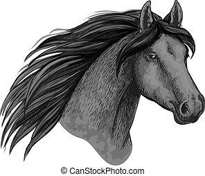 museau, cheval, croquis, vecteur, sport animal, icône