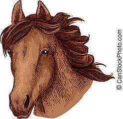 museau, cheval, mascotte, vecteur, animal, sport équipe, icône