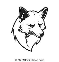 museau, contour, renard, animal, sauvage, tête, icône