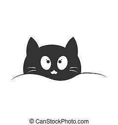 museau, fond, mignon, conception, blanc, cat., isolé, simple