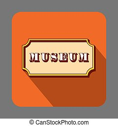 Musem emblem concept background, cartoon style - Musem...