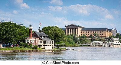 museo, filadelfia, -, cobertizo para botes, pensilvania, arte, estados unidos de américa