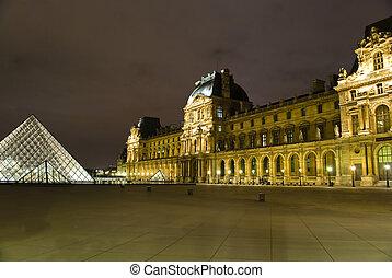 museo louvre, en, parís, por la noche, francia