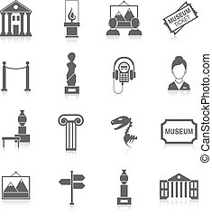 museo, negro, iconos