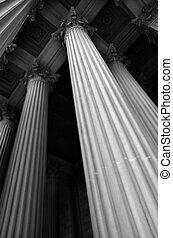 Museu, colunas, ou, banco