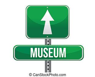 museu, estrada, ilustração, sinal