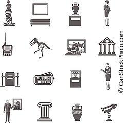 museu, jogo, ícones