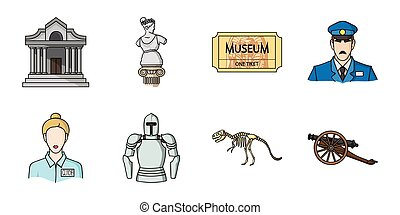 Museum and gallery icons in set collection for design. Storage and exhibition of showpiece vector symbol stock web illustration.