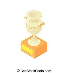 Museum antique vase icon, cartoon style
