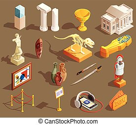 Museum Artifacts Isometric Collection - Museum icon...
