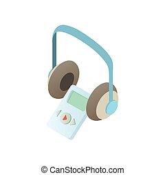 Museum audio guide, headphones icon, cartoon style