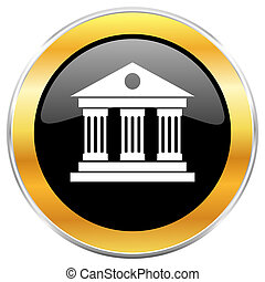 Museum black web icon with golden border isolated on white background. Round glossy button.